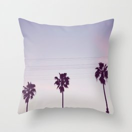Los Angeles Sunset + Palm Tree Silhouettes Throw Pillow