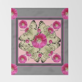 GREY & PINK HOLLYHOCK FLORAL BUTTERFLY PATTERN Throw Blanket