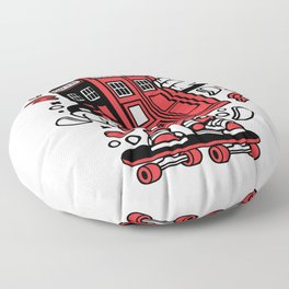 Police Box Skaterfor animated characters comics and pop culture lovers Floor Pillow