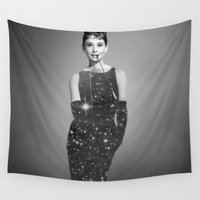 audrey hepburn Wall Tapestries featuring Audrey Hepburn by Laure.B