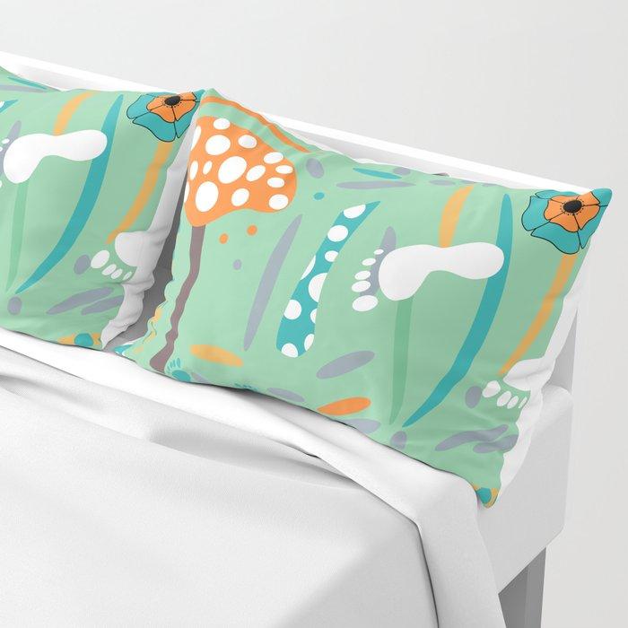 Playful mushroom and flowers Pillow Sham