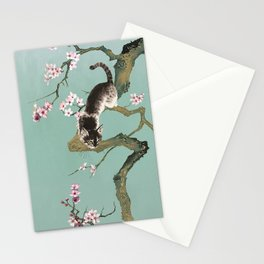 Fortune Cat In Cherry Tree Stationery Cards