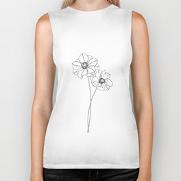 Botanical illustration line drawing - Anemones Biker Tank