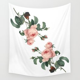 Butterflies in the Rose Garden on White Wall Tapestry
