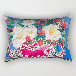 Horse Urn with Tiny Apples and Matilija Queen of California Poppies Floral Still Life Rectangular Pillow
