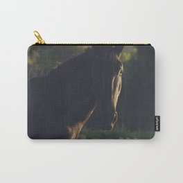 Wild stallion photo, black horse and italian sunset, original print for animal lovers, landscape Carry-All Pouch