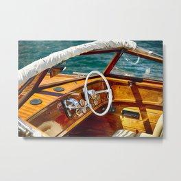 Classic Motorboat, Lake Como, Italy Metal Print