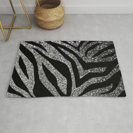 Silver Glitter Zebra Print Rug