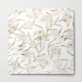 Elegant white gold modern trendy floral Metal Print