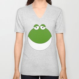 Cute Happy frog standing on its back legs   Man i love frogs   Milf Unisex V-Neck