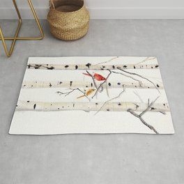 Birch Trees and Cardinal Rug
