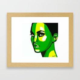 Green Face Framed Art Print
