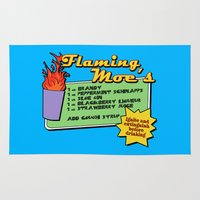 simpsons Area & Throw Rugs featuring The Simpsons: Flaming Moe by dutyfreak