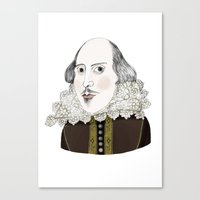 shakespeare Canvas Prints featuring Shakespeare by Jilly Bird