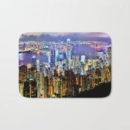 Hong Kong City Skyline Bath Mat