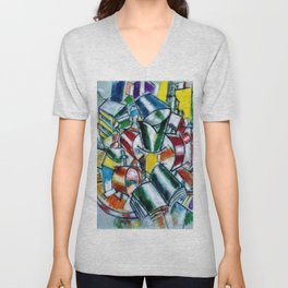 Vibrant and Colorful 'Nature Morte (Still Life)' by Fernand Léger Unisex V-Neck