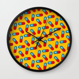 Deadly but Colorful. Pills Pattern Wall Clock