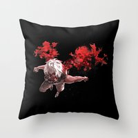 tokyo ghoul Throw Pillows featuring Kaneki Tokyo Ghoul 5 by Prince Of Darkness