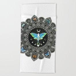 Lunar Moth Mandala Beach Towel