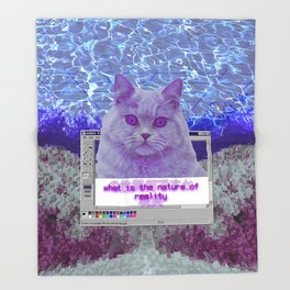 Cat Questioning Life and Reality Throw Blanket
