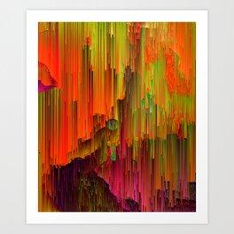 Radioactive - Abstract Glitched Pixel Art Art Print
