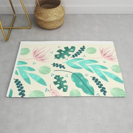 Tropical flora - pink and green  Rug