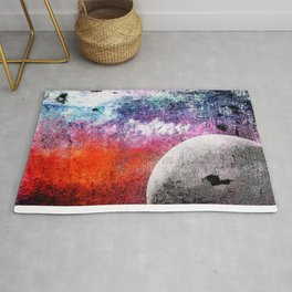 Lunatic Love – The moon and Heart – Grunge Textures Rug
