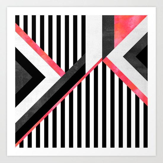 Stripe Combination / Pink Art Print