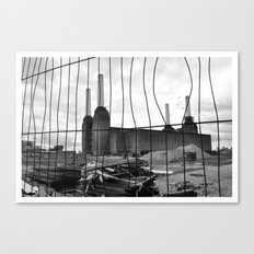 BATTERSEA POWER STATION BEHIND BARRIERS Canvas Print