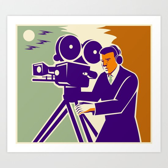 Cameraman Film Crew Vintage Video Movie Camera Art Print