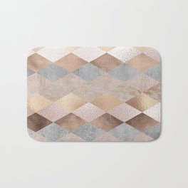 Copper and Blush Rose Gold Marble Argyle Bath Mat