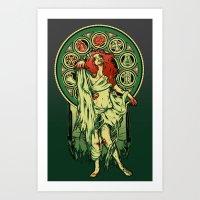 nouveau Art Prints featuring Zombie Nouveau by Megan Lara