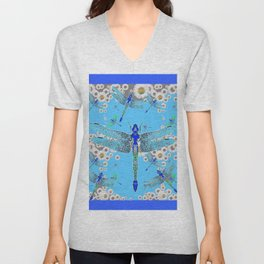 BLUE DRAGONFLIES LILAC WHITE DAISY FLOWERS  ART Unisex V-Neck