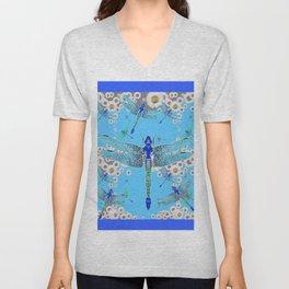 BLUE DRAGONFLIES LILAC WHITE DAISY FLOWERS  ART Unisex V-Neck