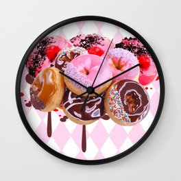 CHOCOLATE & PINK  STRAWBERRY GLAZED DONUTS ART Wall Clock