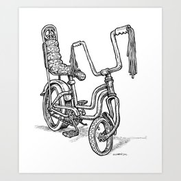 'Slicks R 4 Chicks' - Girls Mod Stingray Muscle Bike Cartoon Retro Bicycle Art Print