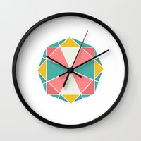 polygon Wall Clocks featuring Polygon by Juste Pixx Designs
