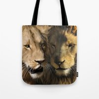 lions Tote Bags featuring Lions by Julie Hoddinott