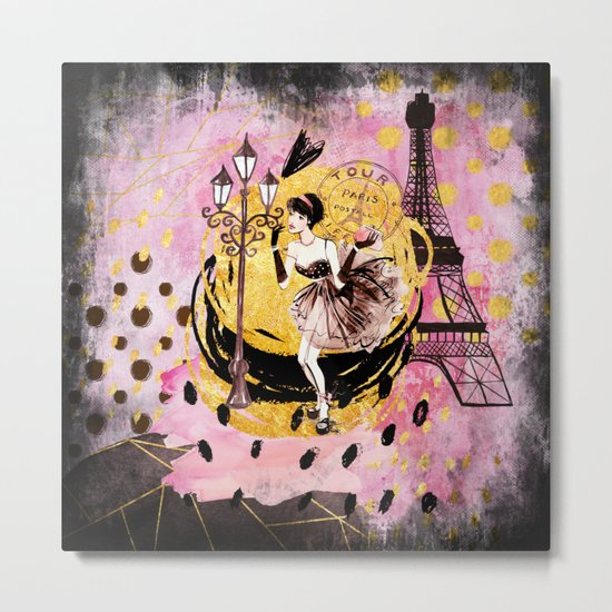 Beautiful fashion girl in Paris- Shopping at the EiffelTower on #Society6 Metal Print
