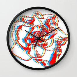 Glitch gardenia - primaries Wall Clock
