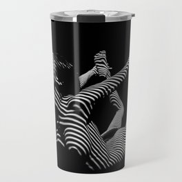 0018-DJA Nude Yoga Flexible Woman Zebra Striped Black and White Abstract Photograph Travel Mug