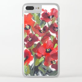 Wild Red Poppies Clear iPhone Case