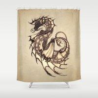mythology Shower Curtains featuring Tsunami Sea Dragon by River Dragon Art