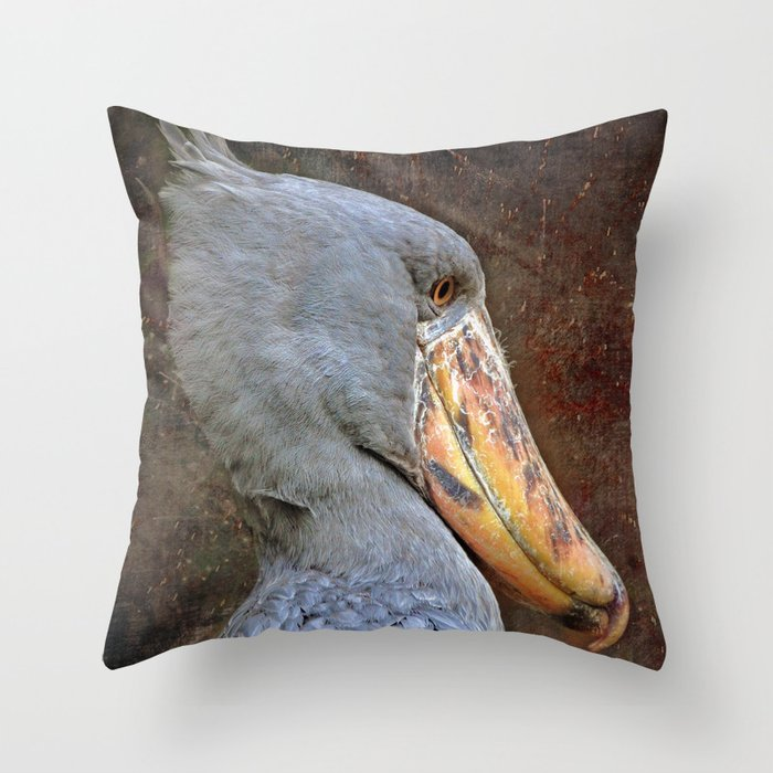 Shoebill Portrait Throw Pillow