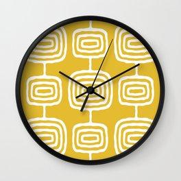 Mid Century Modern Atomic Rings Pattern 771 Mustard Yellow Wall Clock