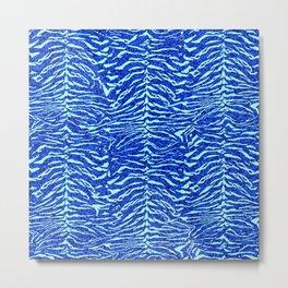 Blue Glitter Tiger Print Metal Print