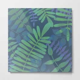 Simple blue jungle scene with dark background  Metal Print