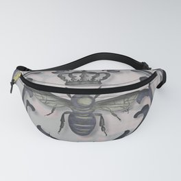 Pink and Gray Vintage Damask French Bee Fanny Pack