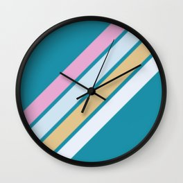 Pink White and Blue Stripes Wall Clock