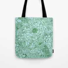 Blue square, green floral doodle, zentangle inspired art pattern Tote Bag